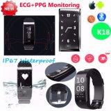 De slimme Waterdichte Bluetooth Slimme Wristband&Bracelet Geschiktheid van het Horloge IP67 K18