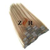 Grampo de cabelo europeu desenhado natural da cor do piano na extensão do cabelo humano