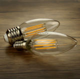 La lámpara 4W de la luz del filamento de E14 E27 LED calienta la lámpara blanca de la vela LED de Dimmable