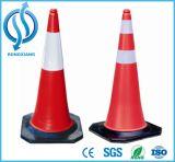 Cone plástico do tráfego do PE de 1 medidor 5kgs com base de borracha