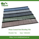 Tuile de toit enduite en pierre colorée en métal (type en bois)