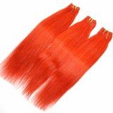 Уток 100% человеческих волос Remy красного цвета