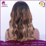 Ombre Cabello ondulado de color de cabello virgen peruana frente encaje peluca