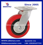 Europäische Art-industrielles Rot PU-Fußrollen-Rad