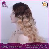 Parrucca indiana del merletto della parte anteriore dei capelli dell'onda di acqua di colori di Ombre 3