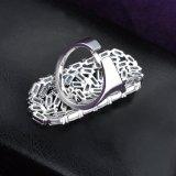 Ring van de Diamant van het Zirconiumdioxyde van het messing de Materiële Witgoud Geplateerde