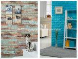 Decoración de la habitación de tapiz de pared sin olor de moda en relieve PE espuma de ladrillo