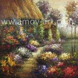 100% de jardín de flores hechas a mano de pintura al óleo de escenario para la Decoración de pared