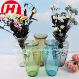 Vaso de vidro azul da tabela da decoração do cristal do vaso