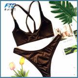 Donne 2018 dello Swimwear del bikini del velluto di Cutom sexy con MOQ basso