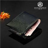 Оптовый роскошный тонкий франтовской бумажник неподдельной кожи волокна углерода для людей
