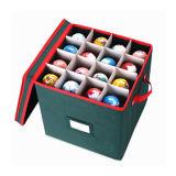 Fábrica de China plegable plegable de tela Ornamento de Navidad Caja de almacenamiento con capacidad para 64 bolas de adornos con separadores