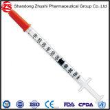 Orange Schutzkappen-Insulin-Wegwerfspritze 0.3ml 0.5ml 1ml mit örtlich festgelegter Nadel 28g/29g/30g/31g Wholesale