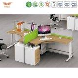 사업 가구 쉬운 사무실 2 사람 L가 책상 3 Dwr 자동차 Peds를 가진 열리는 사무실 워크 스테이션을 형성했다