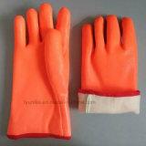 Зимние химического оранжевый ПВХ перчатки длинные манжеты теплый план