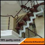Terraço escada corrimão de vidro temperado / Corrimão de vidro para escadas em aço inoxidável