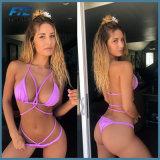 Bikini sexy di usura di nuoto del costume da bagno del poliestere a due pezzi della spiaggia