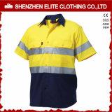 Dois tons Hi Vis Broca de algodão de manga curta Camisa de trabalho