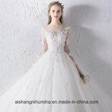 Neues Luxuxhochzeits-Kleid der Prinzessin-Lang-Hülse Lace Flower Beading