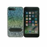 Brillo que coloca la caja protectora del teléfono móvil de la goma TPU de la PU para el iPhone 8 más