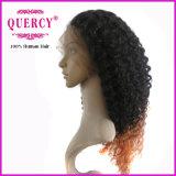 Twee Kleur Omber 100% Braziliaans Maagdelijk Menselijk Haar van de Pruik van het Kant van de Krul van Remy Afro Voor