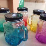 De Kruik van de Metselaar van de Fles van het Glas van de Kleur van de gradiënt met de Zelfde Deksels van de Kleur