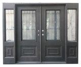 Portes d'entrée carrées faites sur commande de fer de modèle de luxe belles avec des Sidelights