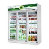 Горячая продажа вертикальные стеклянные двери нескольких витрина для напитков