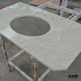 China Brilho branco de banho de cor da pedra de quartzo vaidade topo