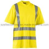 Bande haut r3fléchissante faite sur commande de chemise de polo de jaune de sécurité (ELTHVJ-84)