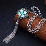 Form Retro eingelegter geometrischer hängender Lond Halsketten-Legierungs-Troddel-Kristallanhänger