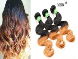 El pelo humano lía la trama del pelo del color de Ombre