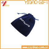 Kundenspezifischer kleiner blauer Samt-Beutel für Verpackung (YB-LY-VE-04)