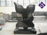 Headstone di disegno della farfalla del granito & memoriale neri di Monument& intagliati Ange