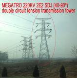 Doppia torretta della trasmissione di tensionamento del circuito di Megatro 220kv 2e2 Sdj