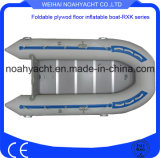 Popular Clouded Factory Made White Rowing PVC Inflatable Fishing Boats with Hard Plywood Bottom