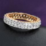 Le Zircon en gros de placage à l'or d'alliage lapide la bague de bijou de mode