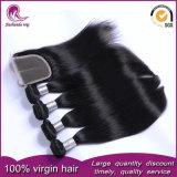 Tessuto mongolo dei capelli umani del Virgin spesso pieno con la chiusura del merletto