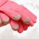 Сладкого розового цвета сенсорный экран теплые рукавицы жаккардовой вставкой женщин вещевым ящиком. Оптовая торговля