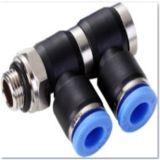 Doble macho codo Unión Phl aire Conectores rápidos de montaje del tubo de dos vías
