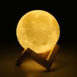 創造的なギフトのホーム装飾のための再充電可能なLED夜ライト月ランプ3Dプリント月光のルナの接触2カラー変更の接触スイッチ