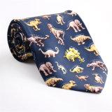 Cravate estampée par fantaisie faite sur commande de polyester de soie de 100% (NT-01)