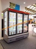 Showcase comercial do refrigerador do congelador da porta de vidro vertical de Multideck