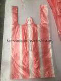 Sacchetto di acquisto di plastica della maglietta su ordinazione dell'HDPE