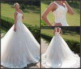 Hülsen-Spitze-Brautkleider A - Zeile geschwollenes Tulle-kundenspezifisches Hochzeits-Kleid G17281