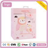 Bolsa de papel revestida del regalo del buho del arte rosado de los niños