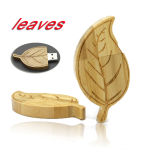 Вал горячей карты памяти USB 2.0 имитации листьев способа деревянной золотистый выходит привод вспышки USB