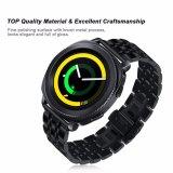 Samsungギヤスポーツバンドのための調節可能で黒い固体ステンレス鋼の時計バンド