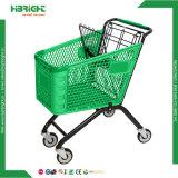 Carro plástico de la carretilla de las compras de la tienda de comestibles del supermercado