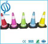 Cone plástico baixo preto colorido da segurança de tráfego de EVA